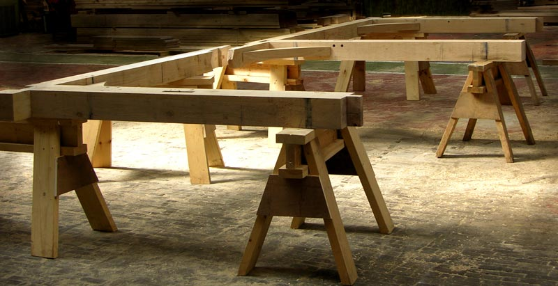 Green oak Frame resting on trestles