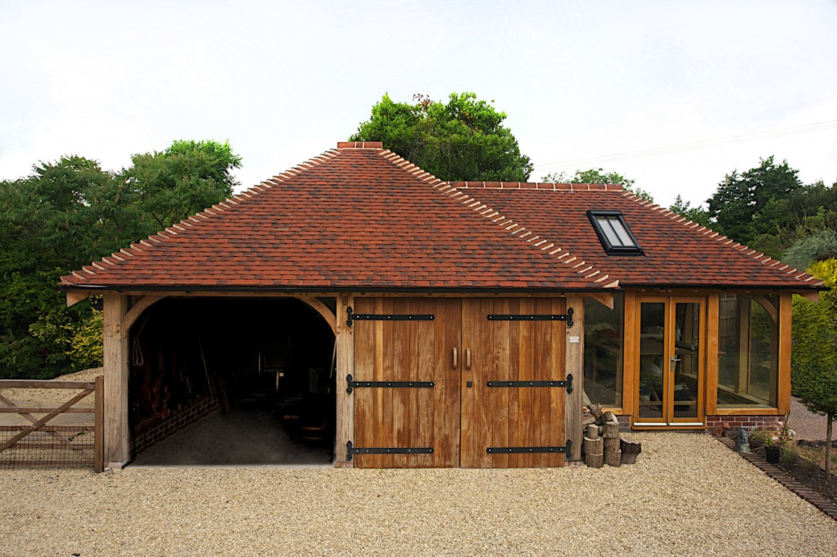 Two bay oak garage with studio