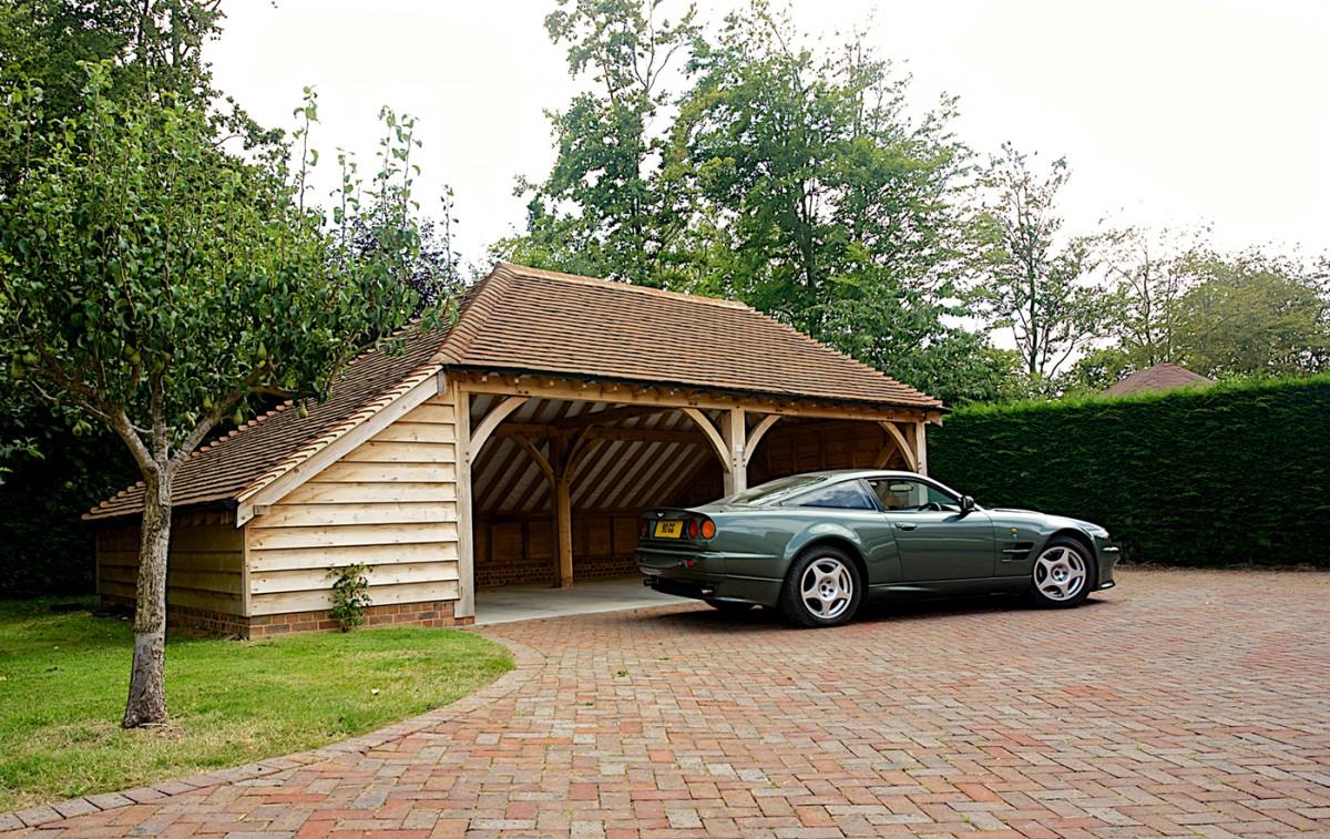 Two bay oak garage cart barn