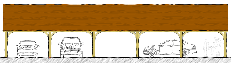 Artists Impression of oak barn for Goodwood Revival